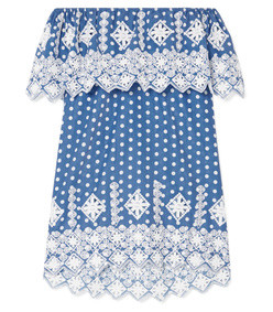agnes off-the-shoulder crotcheted polka-dot cotton-voile mini dress