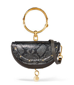 nile bracelet mini snaake-effect leather shoulder bag