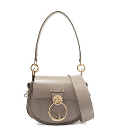tess small leather and suede shoulder bag