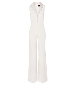 faille-trimmed silk crepe de chine jumpsuit