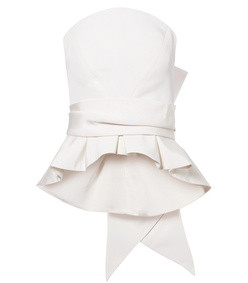 bow-detailed silk-twill bustier top