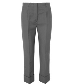 cropped mohair and wool-blend straight-leg pants