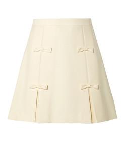 bow-embellished cady mini skirt