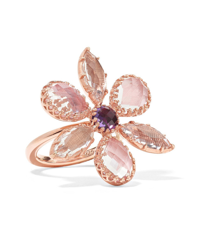 sadie flower rose gold-dipped quartz ring