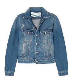 distressed appliqued denim jacket