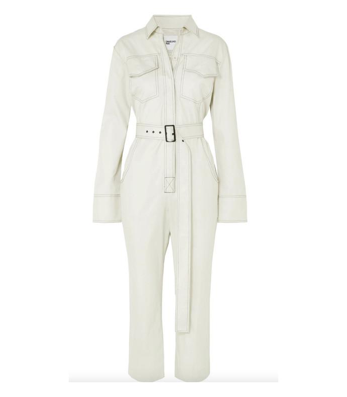 workwear belted cotton-garbardine jumpsuit