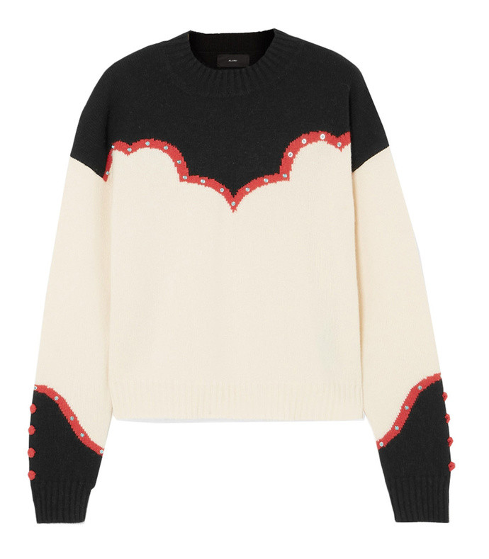 western studded embroidered cashmere sweater
