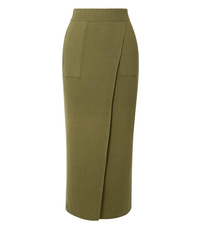 net sustain elena wrap-effect ribbed organic cotton skirt