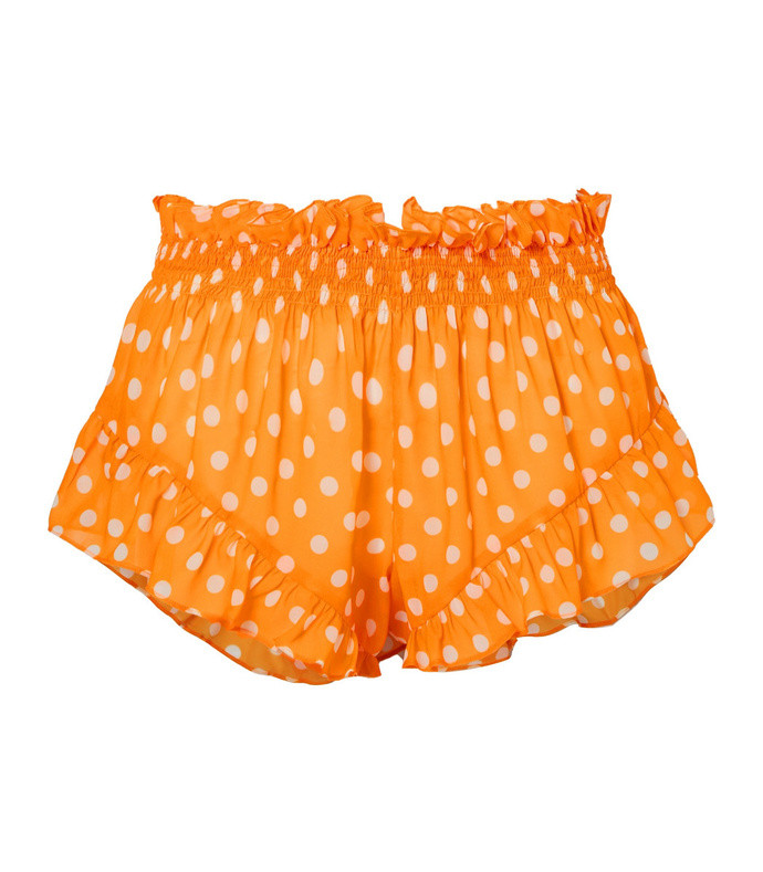 ruffled polka dot chiffon shorts