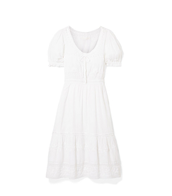 wendy lace-trimmed embroidered cotton-voile dress