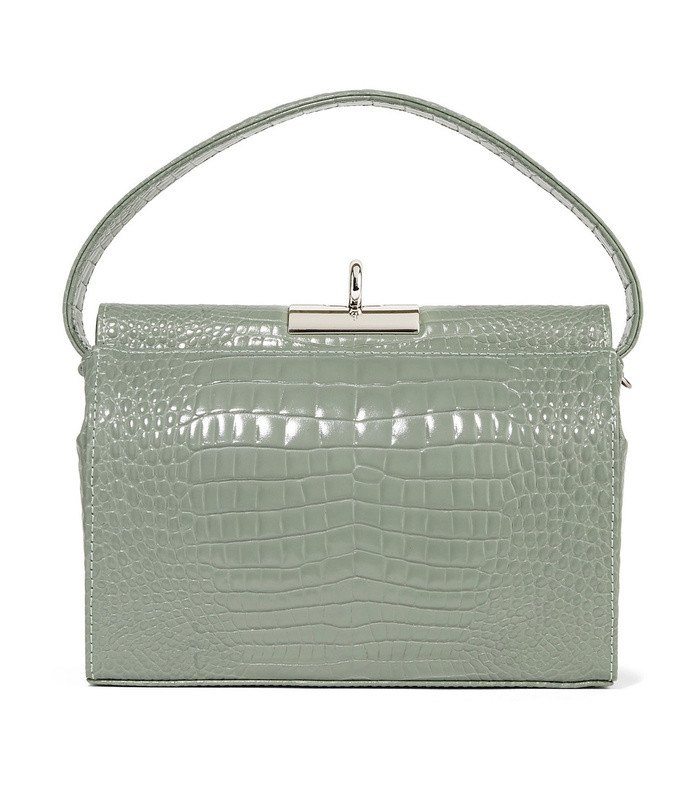 milky croc-effect leather tote
