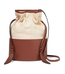 lola raffia and leather shoulder bag
