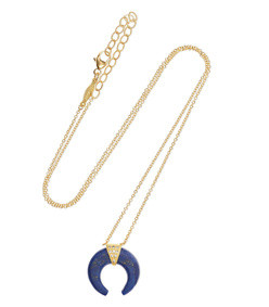 double horn 14k gold, lapis lazuli and diamond necklace