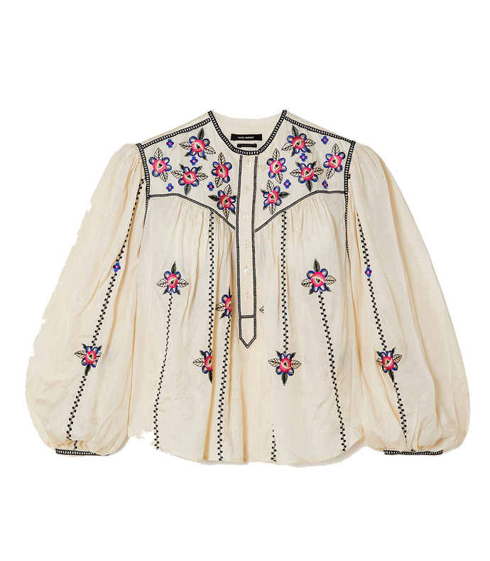caitlyn floral-embroidered silk blouse