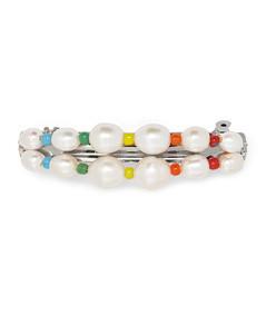 elba silver-tone, pearl and bead hairclip