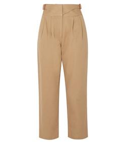 leather-trimmed herringbone cotton straight-leg pants