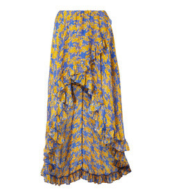 adelle ruffled floral-print silk chiffon maxi skirt