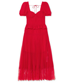 lace-trimmed pleated chiffon midi dress
