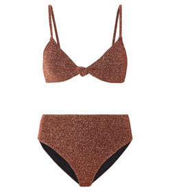 marta and mykela twist-front stretch-lurex bikini