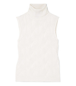 cable-knit wool and silk-blend turtleneck top