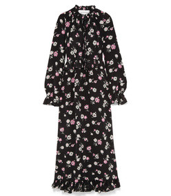 tie-front ruffled floral-print maxi dress
