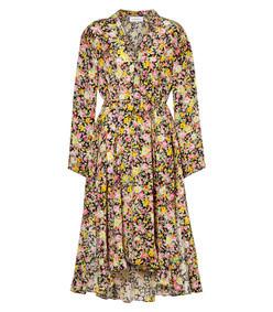 asymmetric floral-print silk-crepe midi dress