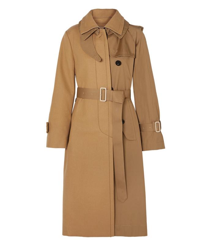 melton wool and cotton-gabardine trench coat