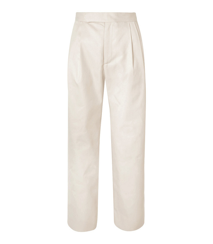 isabella cropped pleated twill straight-leg pants