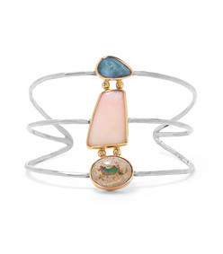 18-karat yellow and rose gold and sterling silver opal cuff