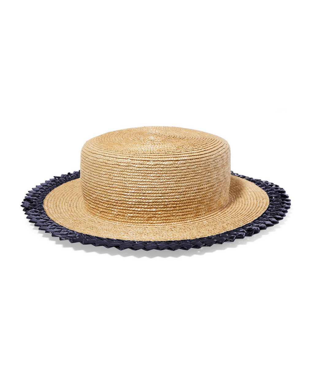 Gigi Burris Agnes Racello-Trimmed Straw Hat