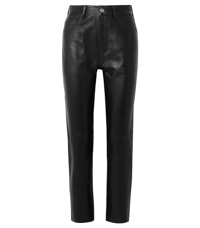 50s cigarette cropped straight-leg leather pants