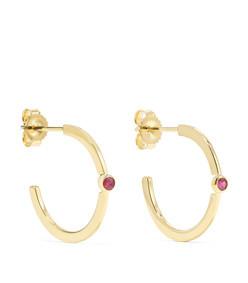 18-karat gold ruby hoop earrings
