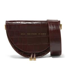 medium glossed croc-effect leather shoulder bag