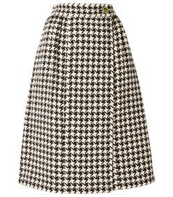 houndstooth wool-blend tweed wrap skirt