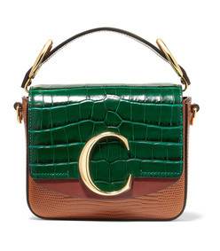 chloé c mini croc and lizard-effect leather shoulder bag