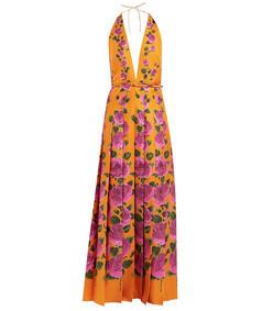 le jardin rose-print silk gown