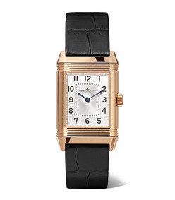 reverso classic duetto 21mm small rose gold, alligator and diamond watch