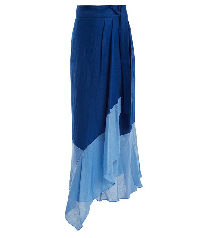 contrast-hem linen-blend wrap skirt