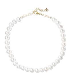 14k gold pearl anklet