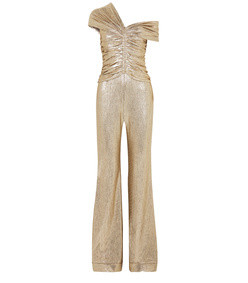 one-shoulder ruched plisse-lame jumpsuit