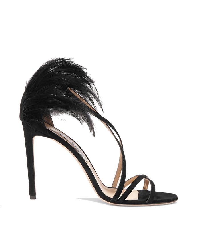 belissa 100 feather-trimmed suede sandals