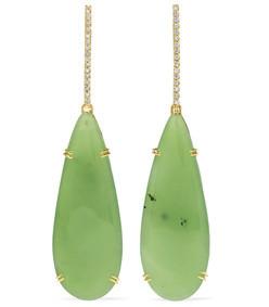 18-karat green and white gold, nephrite and diamond earrings