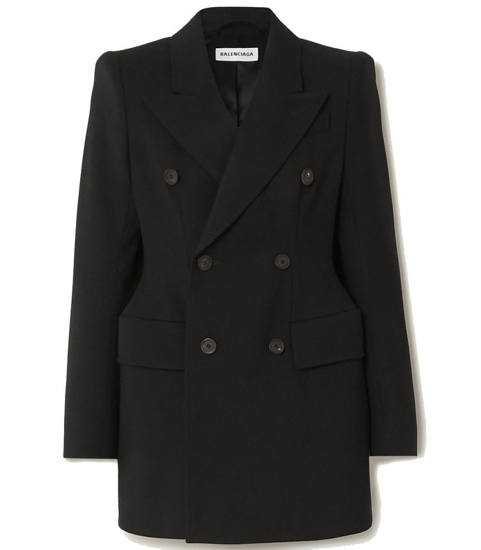 hourglass double-breasted wool-twill blazer