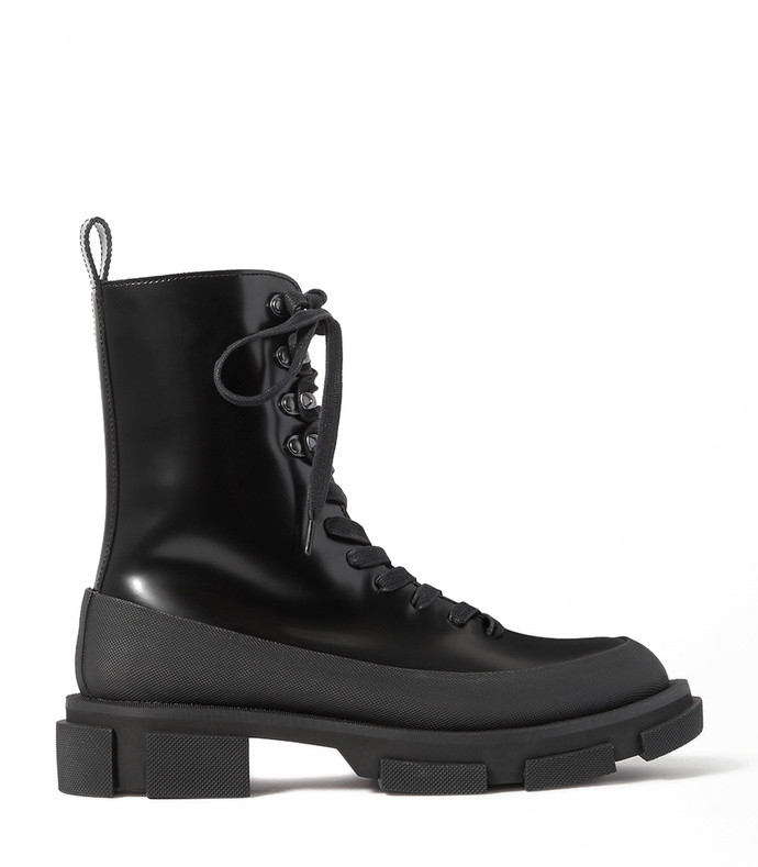 gao rubber-trimmed glossed-leather platform boots
