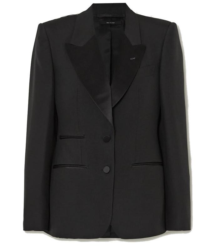 silk satin-trimmed wool and silk-blend blazer