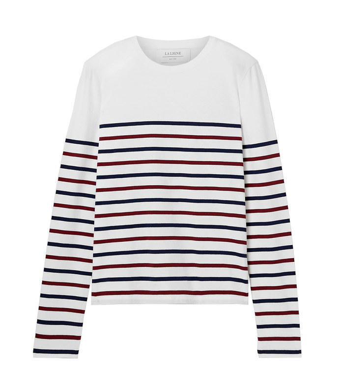 lean lines striped cotton-jersey top