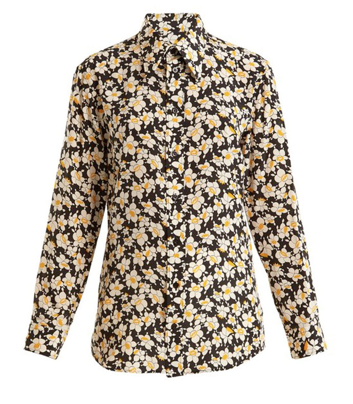morison floral-print silk-crepe shirt