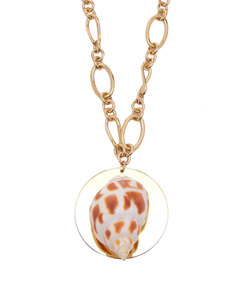 sirena shell and gold-plated pendant necklace