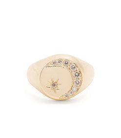 diamond and yellow-gold signet ring