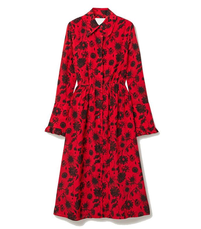 open-back ruffle-trimmed floral-print silk crepe de chine midi dress